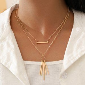 Layered Gold Bar & Tassel Boho Necklace New